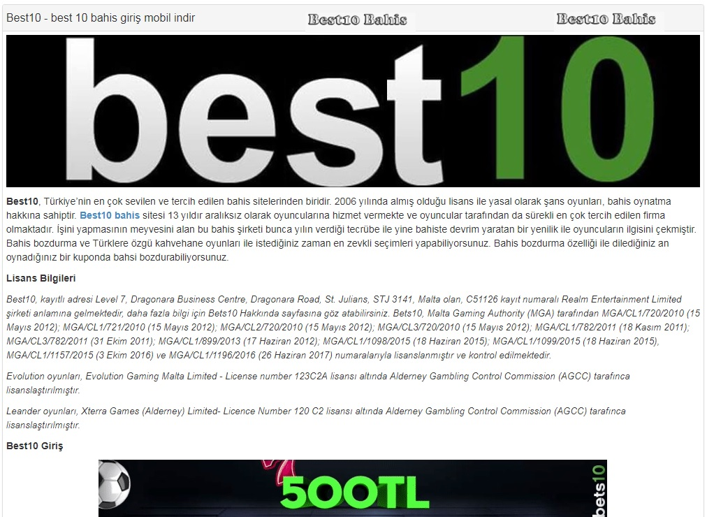 best10 bahis